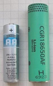18650 vs AA size